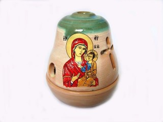 Glossy Ceramic Vigil Oil Lamp Bell-shaped