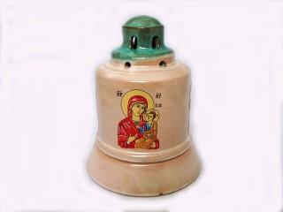 Glossy Ceramic Vigil Oil Lamp Church-shaped