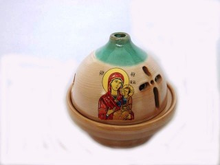 Glossy Ceramic Vigil Oil Lamp Dome-shaped